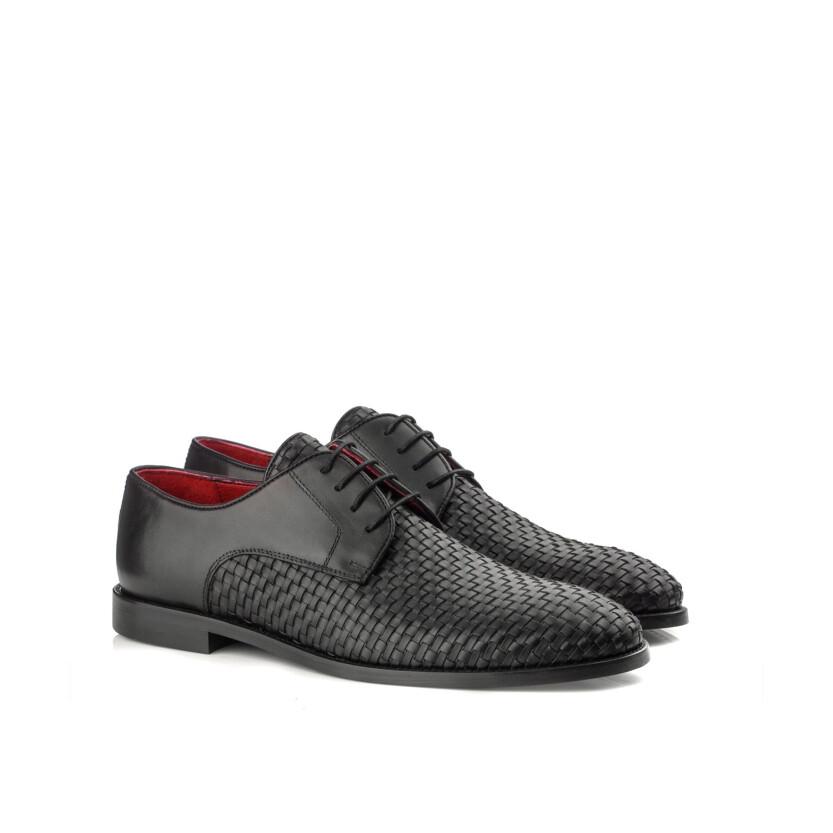 Chaussures Derby en Cuir Tissé pour Hommes Angelo Noir