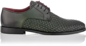 Chaussures Derby en Cuir Tissé pour Hommes Angelo Vert