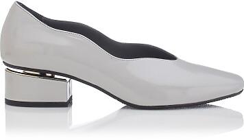 Chaussures à embout carré et talon bloqué Carina Cuir verni Gris