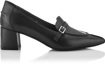 Chaussures pointues à talon large Grazia Noir