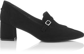 Chaussures pointues à talon large Grazia Daim Noir
