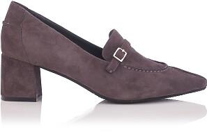 Chaussures pointues à talon large Grazia Daim Gris