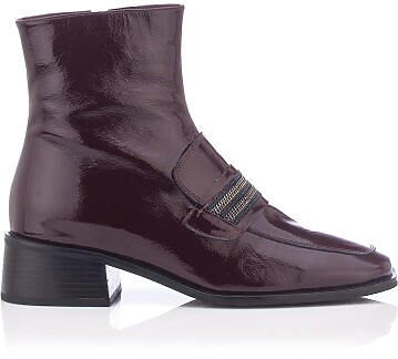 Bottes mocassins Century Saddle Donna Cuir verni ridé Bordeaux