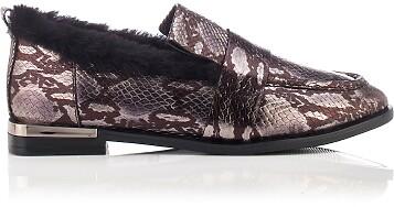 Chaussures à Enfiler Giorgia Serpent en cuir estampé - Argent