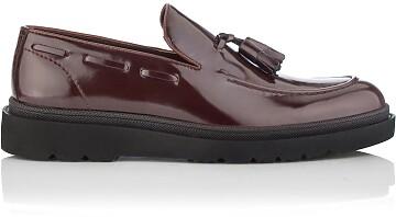 Chaussures Slip-on pour Hommes Luigi Cuir verni Bordeaux