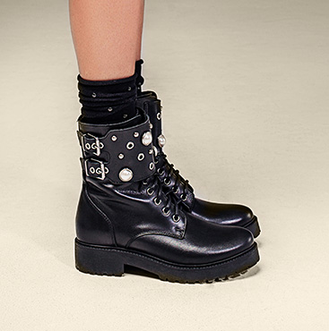 Black Combat Boots with Pearls