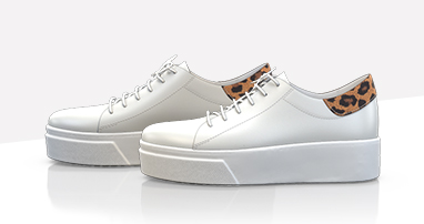 Classic white sneakers with leopard detail