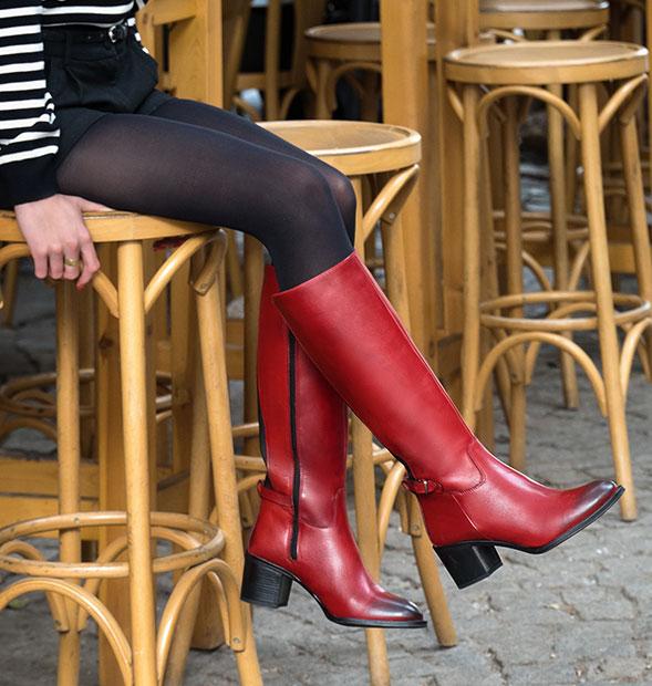 Red Boho Heeled Boots